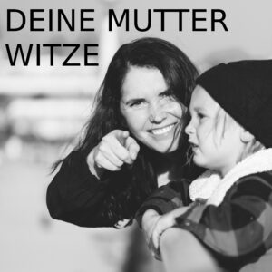 Deine Mutter Witze - party-sprüche.de - Mutter und Sohn - lachend - Reling