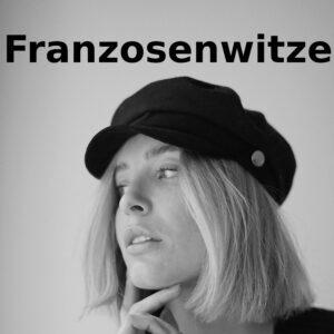 Franzosenwitze - party-sprüche.de - hübsche französische Frau mit Franzosenhut - Logo Franzosenwitze